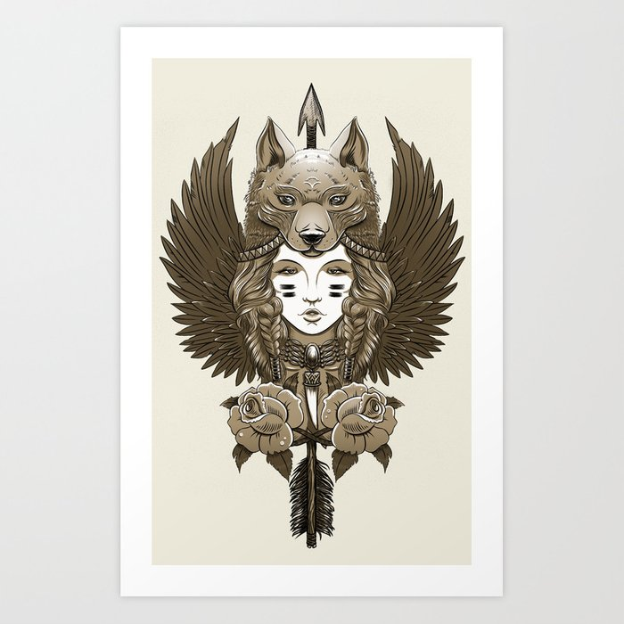 Native girl (light version) Art Print