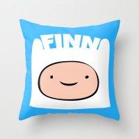 finn Throw Pillows featuring FINN by Sara Eshak