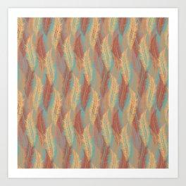 Feather Stripe - Soft Coral Art Print