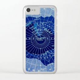 South Pole Neon Map Clear iPhone Case