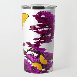 YELLOW BUTTERFLIES & PURPLE BOUGAINVILLEA FLOWERS Travel Mug