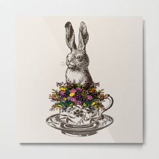 Rabbit in a Teacup Metal Print