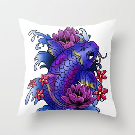 Koi Fish Cool Japanese Tattoo Japan Carp Gift Idea Throw Pillow
