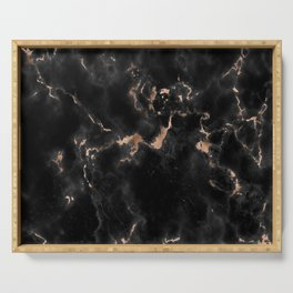 Rose Gold and Black Marble Serving Tray