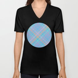 Colorful Plaid Pattern with Blue Background Unisex V-Neck