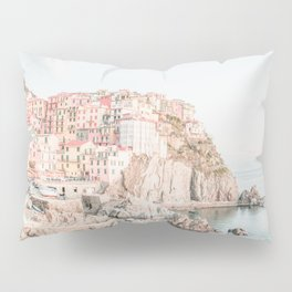Positano, Italy Amalfi coast pink-peach-white travel photography in hd Pillow Sham