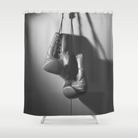 boxing Shower Curtains featuring Boxing BXNG by Rafael Igualada