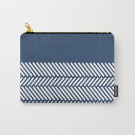 Herringbone Boarder Navy Carry-All Pouch