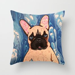 Abstract Frenchie Throw Pillow