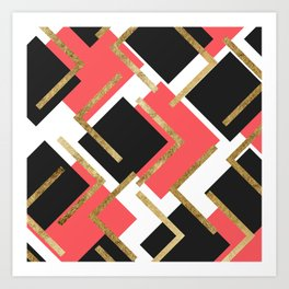 Chic Coral Pink Black and Gold Square Geometric Art Print