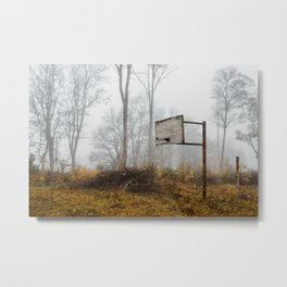 Abandoned basketball court in fog Metal Print