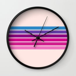 Disco - Classic 70s Style Pink Retro Stripes Wall Clock