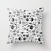 day of the dead Throw Pillows featuring Day of the dead by Farnell