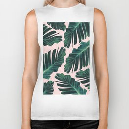 Tropical Blush Banana Leaves Dream #1 #decor #art #society6 Biker Tank