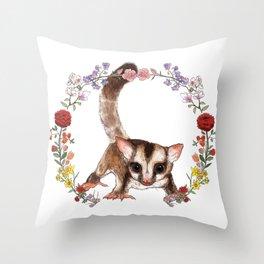 Sugar Glider in Flower Wreath Throw Pillow