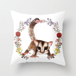 Sugar Glider in Flower Wreath Throw Pillow