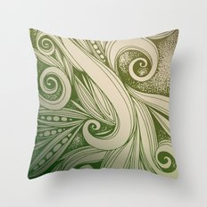 Tangled curves, olive Throw Pillow