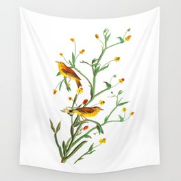 Yellow Red-poll Warbler Bird Wall Tapestry