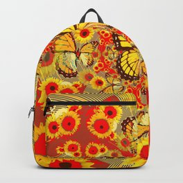 RED YELLOW MONARCH BUTTERFLY WORLD FLORALS MODERN ART Backpack