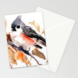 titmouse in the fall, Fall colors, birds and flowers bird art Stationery Cards