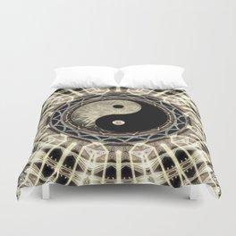 Yin Yang Geometry Mandala V1 Duvet Cover