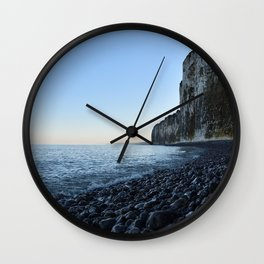 Art print of the white cliffs in winter in Normandy, France Wall Clock
