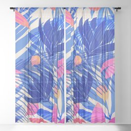 Breezy Tropics / Bright Abstract Floral Print Sheer Curtain