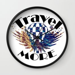 Travel More text Wall Clock