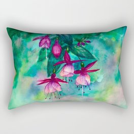 Watercolor fuschia flowers whimsical painting Rectangular Pillow