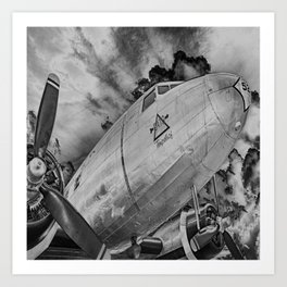 Airplane Propellors Vintage Flight Travel Aircraft Black And White Print Art Print