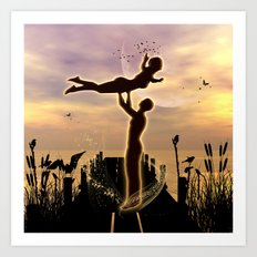 Dance with me in the sunset Art Print