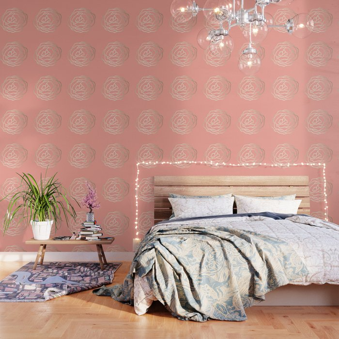 Flower in White Gold Sands on Salmon Pink Wallpaper