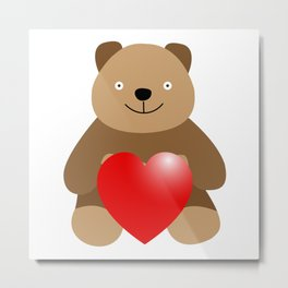 Funny bear with a heart Metal Print