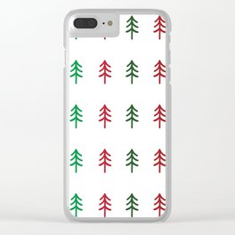 Hand drawn forest green and red trees for Christmas time Clear iPhone Case