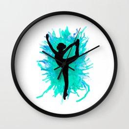 Watercolour Dancer Green Wall Clock