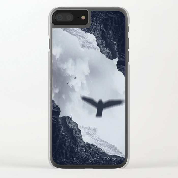 spaces xvii - cave mouth with bird Clear iPhone Case