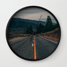 road, marking, mountains, direction, new zealand Wall Clock
