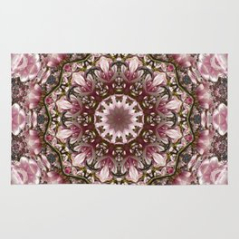 Pink spring blossoms, Floral mandala-style Rug