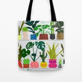 Plants on the Shelf in Gray + White Wood Tote Bag