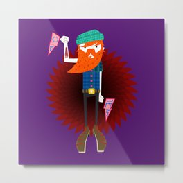 Hipster Beard Daddy Metal Print