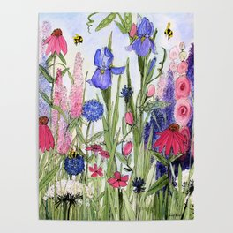 Colorful Garden Flower Acrylic Painting Poster