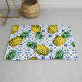 Pattern of Moroccan pineapples and tiles Rug