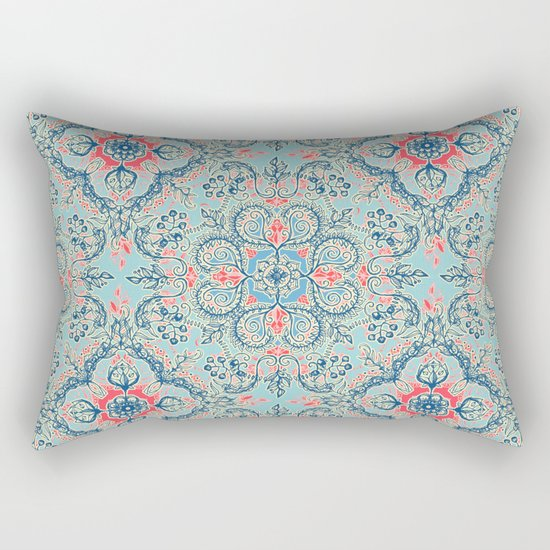 Gypsy Floral in Red & Blue Rectangular Pillow