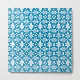 Rhombus Pattern, Pacific Blue Metal Print