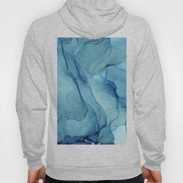 Blue Marble Waves Ink Painting Hoody