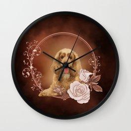 Cute cocker spaniel with roses Wall Clock