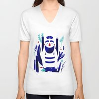 nemo V-neck T-shirts featuring Captain Nemo by Fabiola Correas