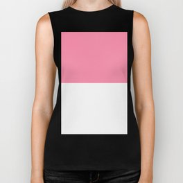 White and Flamingo Pink Horizontal Halves Biker Tank