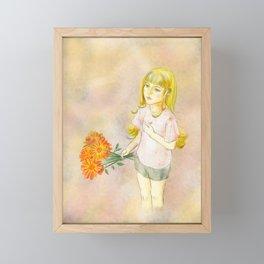 Girl with calendula Framed Mini Art Print