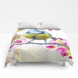 Romantic Flower Blossom with blue tit spring bird Comforters